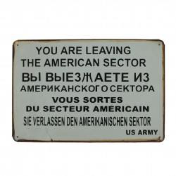 "Plaque vintage ""American sector check-point Charlie"""