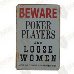 "Plaque vintage ""Beware Poker players..."""