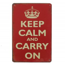 "Plaque vintage ""Keep calm and carry on"""