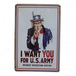 "Plaque vintage ""I Want you for US Army"""