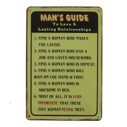 """Plaque vintage """"Man's guide"""""""
