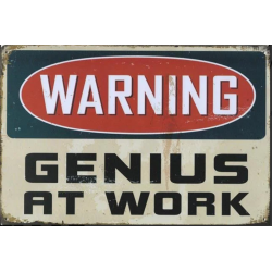 "Plaque vintage "" Warning Genius At Work """
