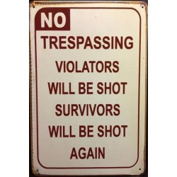 "Plaque vintage ""Warning No Trespassing..."""